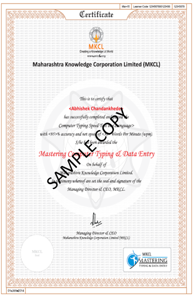 Mastering Computer Typing and Data Entry Sample Certificate
